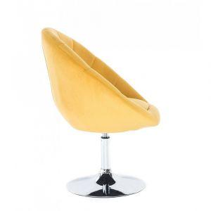 Kosmetické křeslo VERA VELUR na stříbrném talíři - žluté