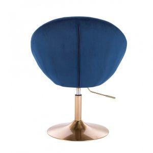 Křeslo VERA VELUR na zlatém talíři - modré