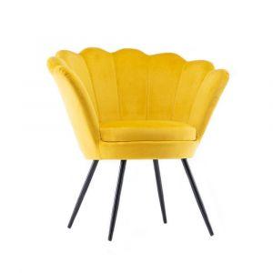 Křeslo FREY VELUR s černými nohami - žluté