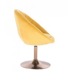 Křeslo VERA VELUR na zlatém talíři - žluté