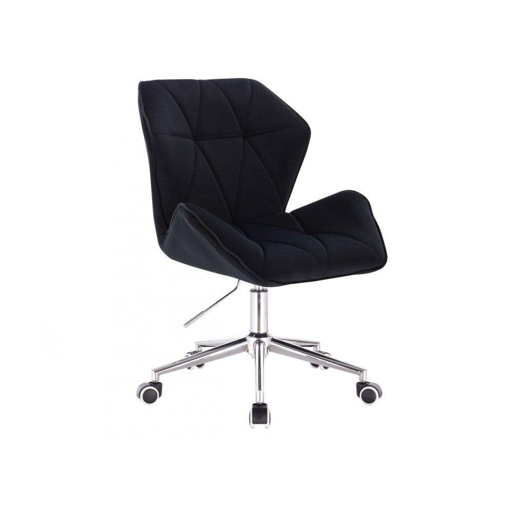 Židle MILANO MAX VELUR na stříbrné podstavě s kolečky - černá