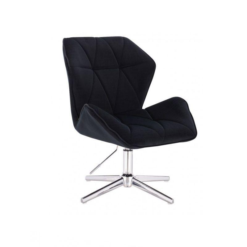 Židle MILANO MAX VELUR na stříbrném kříži - černá