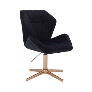 Židle MILANO MAX VELUR na zlatém kříži - černá