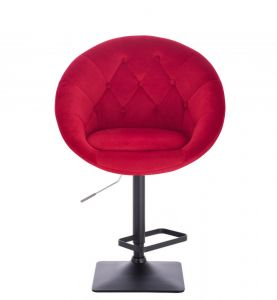 Barová židle VERA VELUR na černé podstavě - červená