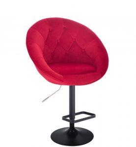 Barová židle VERA VELUR na černém talíři - červená