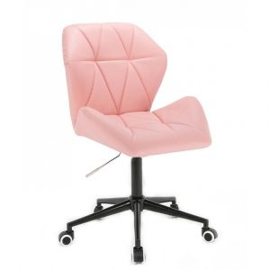 Kosmetická židle MILANO MAX na černé podstavě s kolečky - růžová