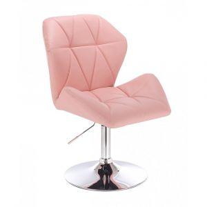 Kosmetická židle MILANO MAX na stříbrném talíři - růžová