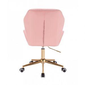 Kosmetická židle MILANO MAX na zlaté podstavě s kolečky - růžová