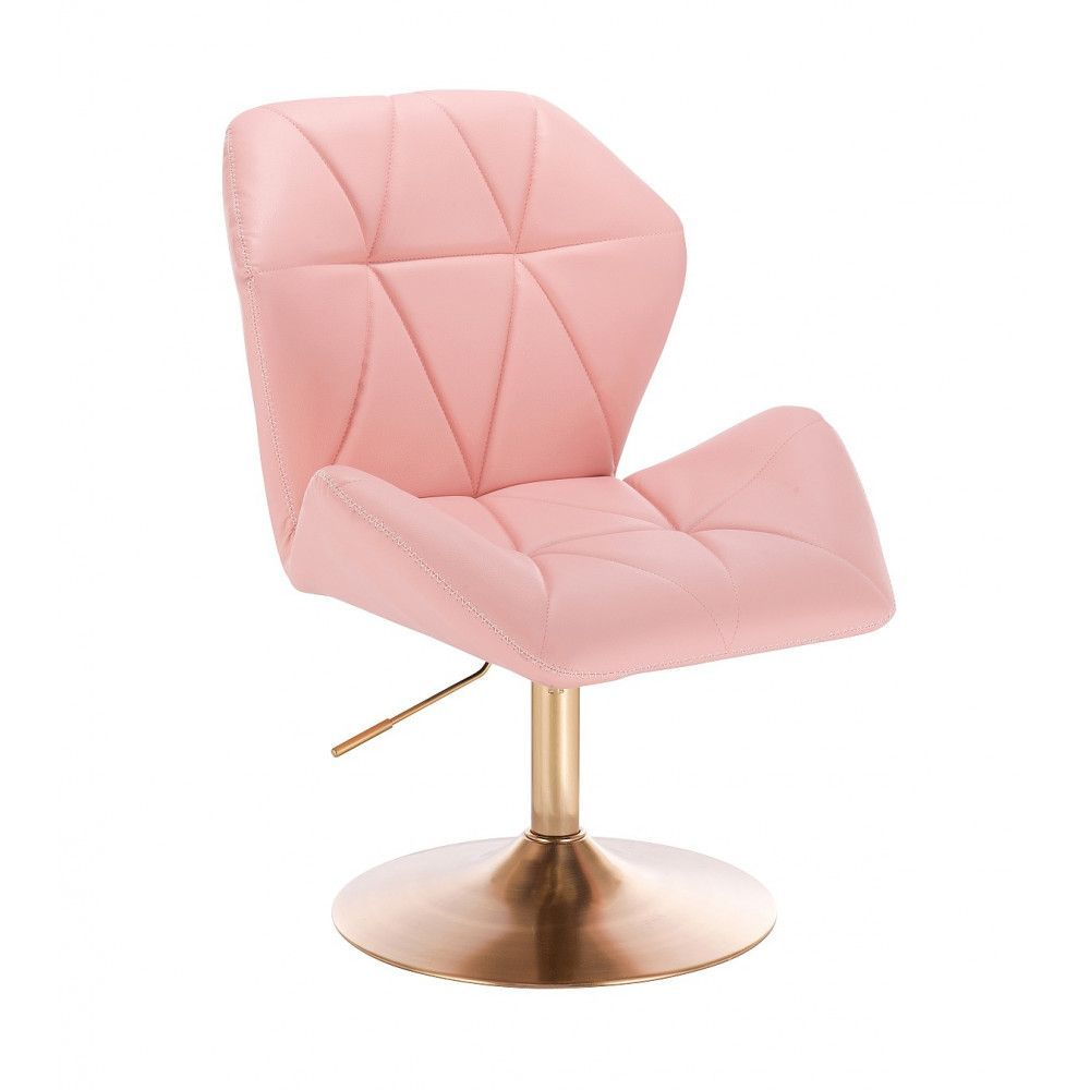 Kosmetická židle MILANO MAX na zlatém talíři - růžová