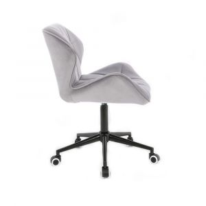 Kosmetická židle MILANO VELUR na černé podstavě s kolečky -  světle šedá