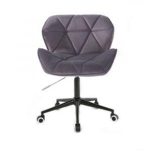 Kosmetická židle MILANO VELUR na černé podstavě s kolečky - tmavě šedá