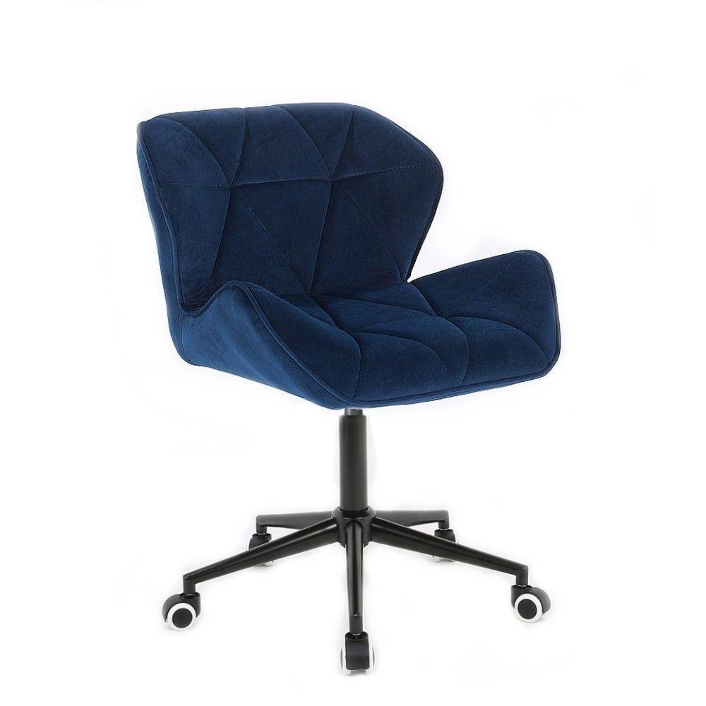 Kosmetická židle MILANO VELUR na černé podstavě s kolečky - modrá