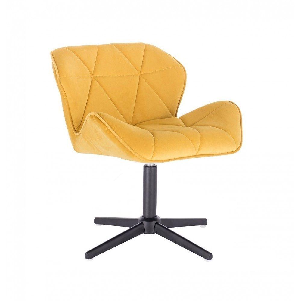 Kosmetická židle MILANO VELUR na černém kříži - žlutá