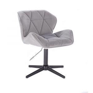 Kosmetická židle MILANO VELUR na černém kříži - světle šedá