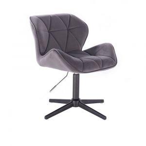 Židle MILANO VELUR na černém kříži - tmavě šedá