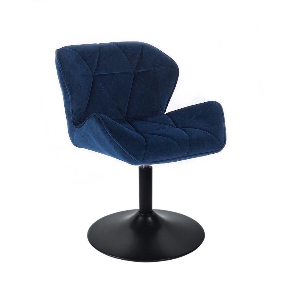 Kosmetická židle MILANO VELUR na černém talíři - modrá