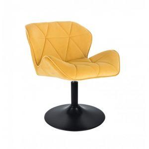 Kosmetická židle MILANO VELUR na černém talíři - žlutá