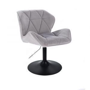 Kosmetická židle MILANO VELUR na černém talíři - světle šedá