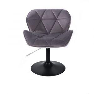 Kosmetická židle MILANO VELUR na černém talíři - tmavě šedá