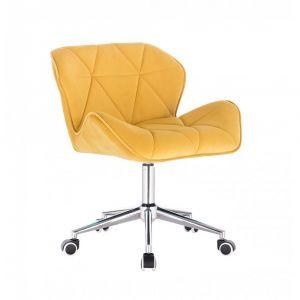 Kosmetická židle MILANO VELUR na stříbrné podstavě s kolečky - žlutá