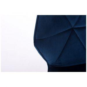 Kosmetická židle MILANO VELUR na stříbrném kříži - modrá