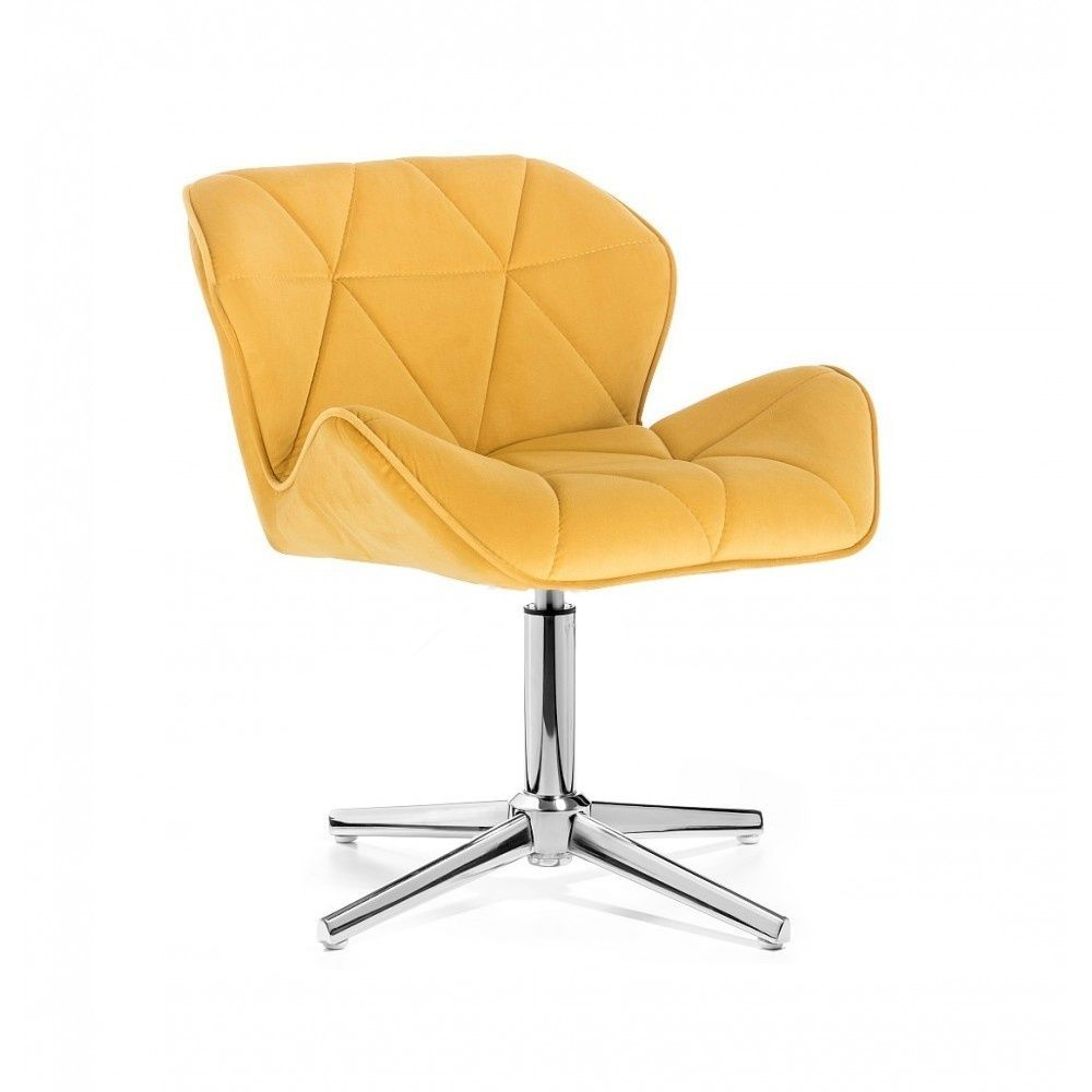 Kosmetická židle MILANO VELUR na stříbrném kříži - žlutá