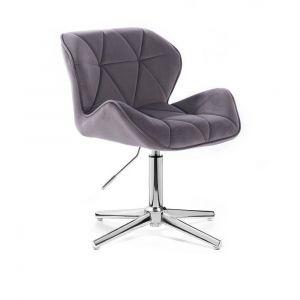 Kosmetická židle MILANO VELUR na stříbrném kříži - tmavě šedá