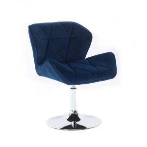 Kosmetická židle MILANO VELUR na stříbrném talíři - modrá