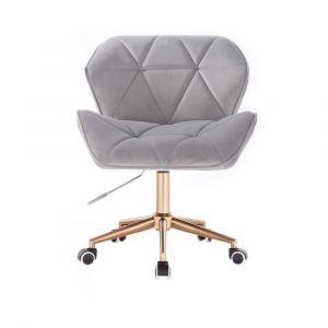 Kosmetická židle MILANO VELUR na zlaté podstavě s kolečky - světle šedá