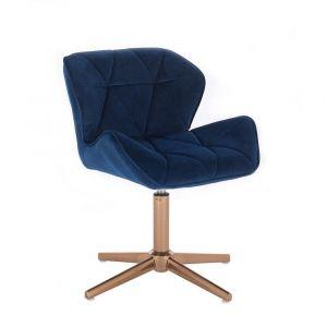 Kosmetická židle MILANO VELUR na zlatém kříži - modrá