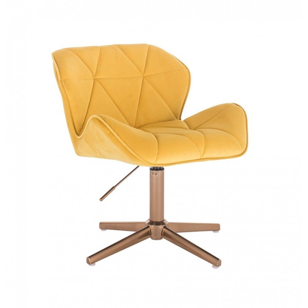 Kosmetická židle MILANO VELUR na zlatém kříži - žlutá