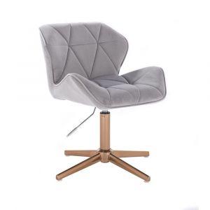 Kosmetická židle MILANO VELUR na zlatém kříži - světle šedá