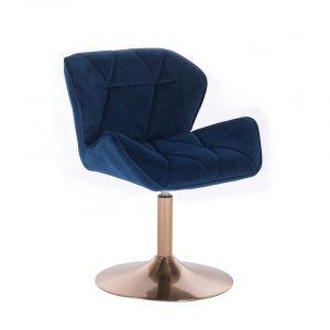 Kosmetická židle MILANO VELUR na zlatém talíři - modrá