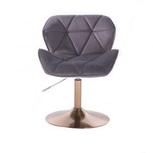 Kosmetická židle MILANO VELUR na zlatém talíři - tmavě šedá