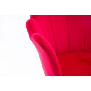 Kosmetické křeslo FREY VELUR s černými nohami - červené