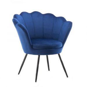 Kosmetické křeslo FREY VELUR s černými nohami - modré