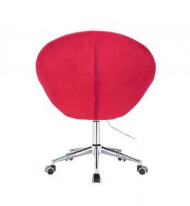 Křeslo VERA VELUR na stříbrné podstavě s kolečky - červené