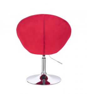 Křeslo VERA VELUR na stříbrném talíři - červené