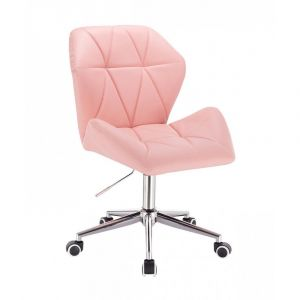 Židle MILANO MAX na stříbrné podstavě s kolečky - růžová