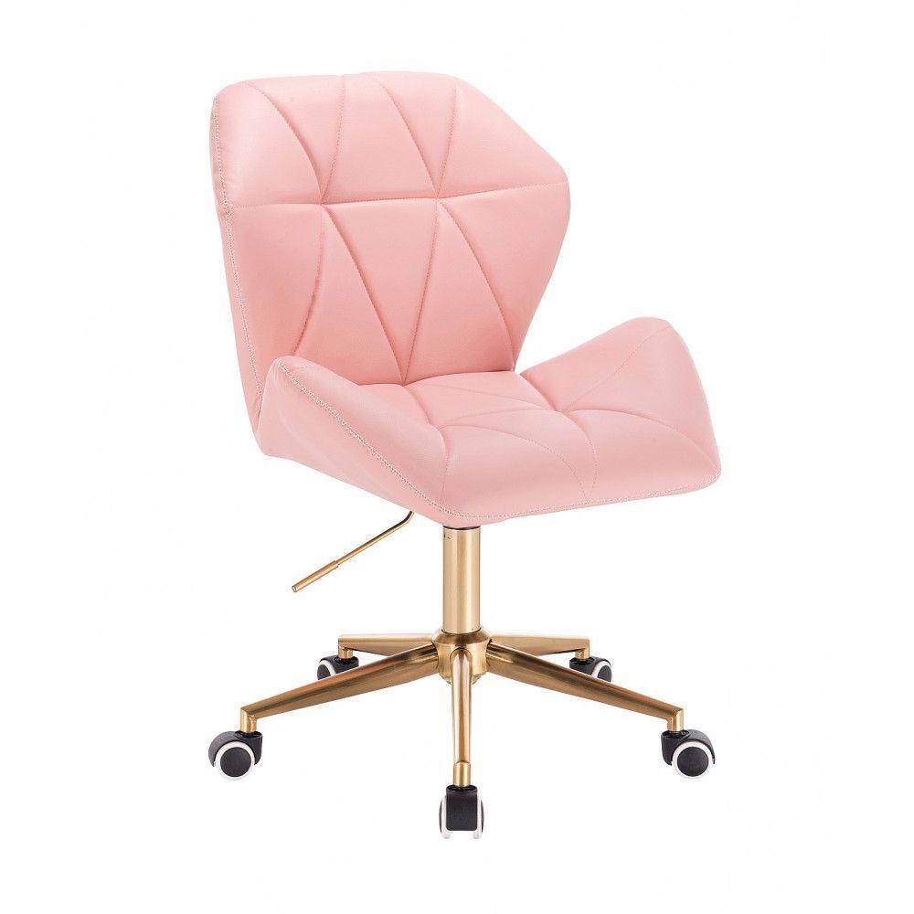 Židle MILANO MAX na zlaté podstavě s kolečky - růžová