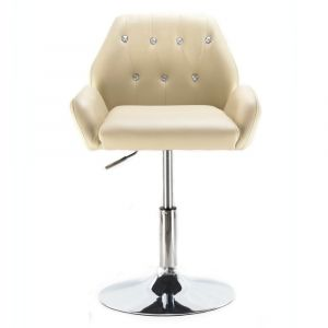 Kosmetická židle LION na kulaté podstavě krémová