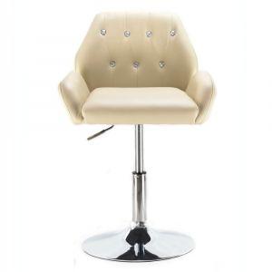Židle LION na kulaté podstavě krémová