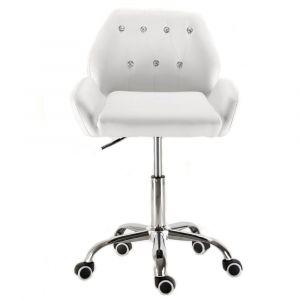 Židle LION na stříbrné podstavě s kolečky - bílá