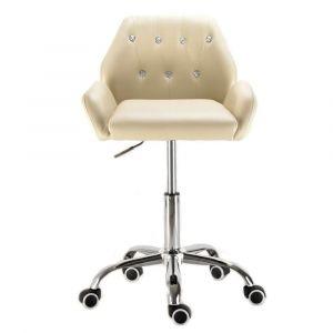 Židle LION na stříbrné podstavě s kolečky - krémová