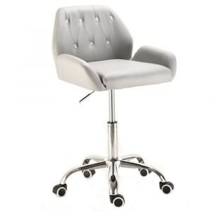 Židle LION na stříbrné podstavě s kolečky - šedá
