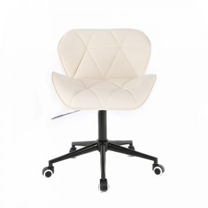 Židle MILANO na černé podstavě s kolečky - krémová