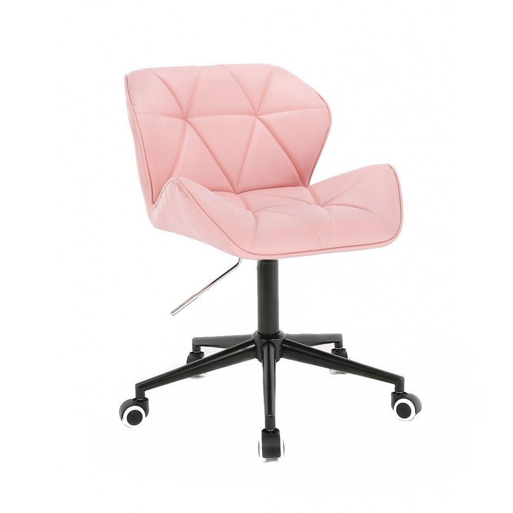 Židle MILANO na černé podstavě s kolečky - růžová
