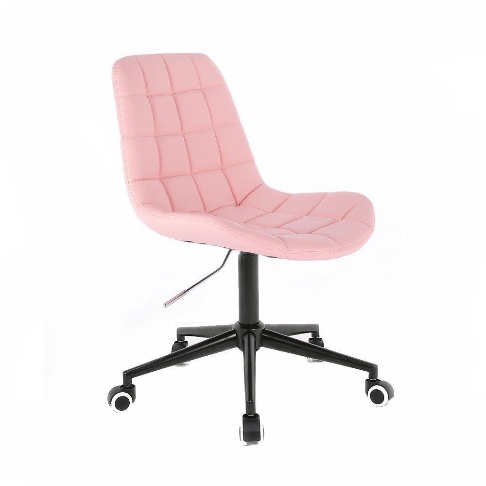 Židle PARIS na černé podstavě s kolečky - růžová