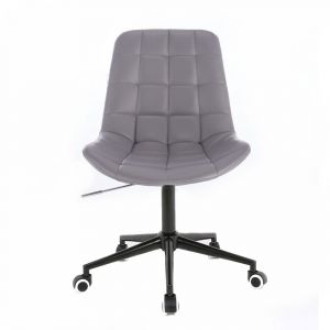 Židle PARIS na černé podstavě s kolečky - šedá