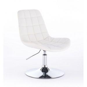 Židle PARIS na kulaté stříbrné podstavě - bílá